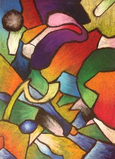 Middle School Art Project - Oil Pastel Drawing Inspired by Kandinsky - From Mrs. McLain's Art Room