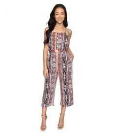 Brigitte Bailey Kerry Spaghetti Strap Jumper with Waist Cut Out (Taupe/Multi) Women's Jumpsuit & Rompers One Piece