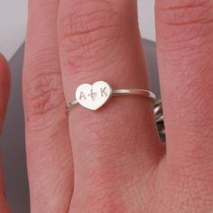 heart couple initial sterling silver ring