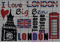 london 2 Mini Cross Stitch, Cross Stitch Embroidery, Cross Stitch Patterns, Hama Beads Patterns, Beading Patterns, Knitting Patterns, Pixel Art Templates, Le Point, Crossstitch
