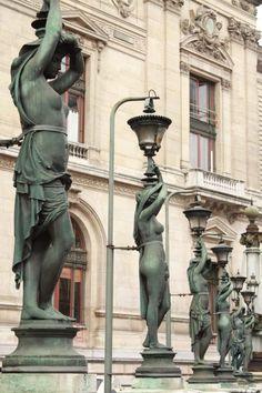 Lamp statues, Opera Garnier Paris - France