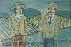 Nikifor KRYNICKI (1895 - 1968)  Pan i Pani piórko, tusz, akwarela, karton, 14,3 x 21,8 cm