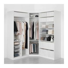 Shoes and coats stored elsewhere. Drawers in tower, leaving wardrobes just for hanging. Additional storage overhead (seasonal?).