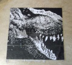 Pixel Art Hama Beads T-Rex (About 3600 pearls, 23,6x23,6 inches big) by obscurepastels on deviantart