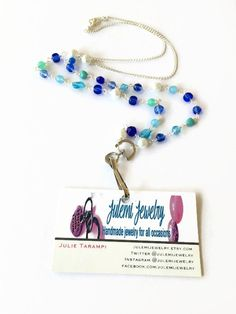 Blue Beaded Lanyard Necklace ID Badge Necklace ID by JulemiJewelry **Use coupon code PINTEREST2OFF at check out for $2 off your $20+ order***