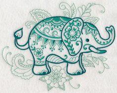 Mehndi Elephant design (L4617) from www.Emblibrary.com