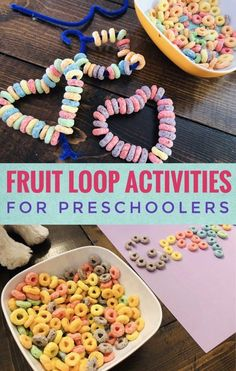 Fine Motor Activities Using Fruit Loops - Glitter On A Dime - Fruit Loop Activities for Preschoolers – great for fine motor skills! Babysitting Activities, Fine Motor Activities For Kids, Motor Skills Activities, Art Therapy Activities, Preschool Learning Activities, Toddler Preschool, Toddler Crafts, Preschool Activities, Kids Learning
