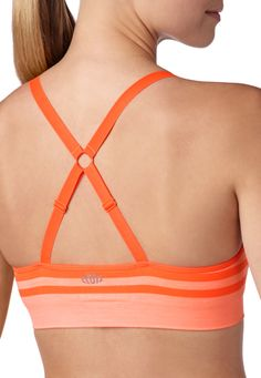 orange striped banded bottom sport bra - maurices.com