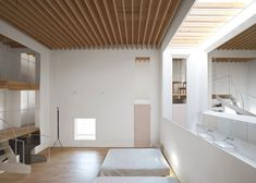 Houten structuur plafond, fijne latten   Jun Igarashi Architects — Repository