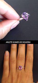 Jóia de bancada: Anél em prata com ametista roxa