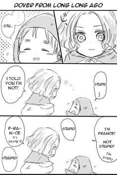 """Part 1/2 in a short doujinshi """"Little Dover"""" featuring young Francis and Arthur."""