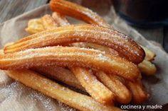 Delicious Churros Recipes Online is under construction Donut Recipes, Mexican Food Recipes, Sweet Recipes, Snack Recipes, Snacks, Thermomix Desserts, Spanish Dishes, Tasty, Yummy Food