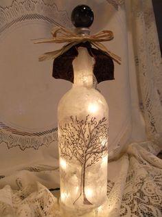 Bare Tree Wine Bottle Lamp. $24.99, via Etsy.