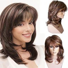 Wholesale Hot-selling Wig Ladies Short Curly Hair Inclined Bangs Medium Long Hair Brown Pick Dyed Short Hair from Our website with high quality and fast shipping worldwide. Medium Long Hair, Short Curly Hair, Wavy Hair, Curly Hair Styles, Curly Pixie, Short Wavy, Curly Wigs, Dyed Hair, Natural Wigs