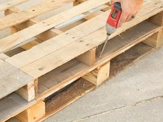 Outdoor Furniture Pallet How to Make Stylish Outdoor Pallet Seating : Outdoors :.Outdoor Furniture Pallet How to Make Stylish Outdoor Pallet Seating : Outdoors : Home Garden Television - The experts at HGTV. Used Outdoor Furniture, Pallet Furniture Plans, Pallet Furniture Designs, Furniture Layout, Furniture Sets, Farmhouse Furniture, Wooden Furniture, Outdoor Pallet Seating, Pallet Patio