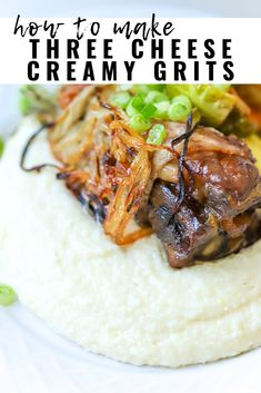 Grits is a staple in our household, but only if they are made a certain way. We're sharing how we make Three Cheese Creamy Grits, a savory southern recipe that is always a huge hit for a brunch idea! Savory Grits Recipe, Stone Ground Grits, Corn Grits, Cheesy Grits, Polenta Recipes, Braised Short Ribs, Creamy Cheese, Southern Recipes, Casseroles