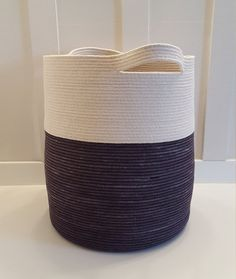 XXL Black and White Rope Basket with by PrairieStMercantile