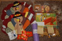 Missionary Thanksgiving Care Package-turkey placemats for him and his companion with letters from the family and girlfriend, cookies, caramel apples, mission calendar, misc. other treats and items.