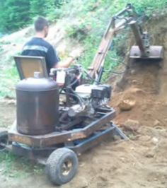Excavator by Danny Bouchard -- Homemade excavator welded from channel iron and steel. Capable of being transported in a light truck or operated directly from the vehicle's bed. http://www.homemadetools.net/homemade-excavator