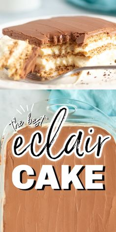 Eclair cake is a great no bake cake for any occasion. It's filled with French vanilla pudding and layered with graham crackers, then topped with the perfect chocolate frosting. Best Cake Recipes, Brownie Recipes, Chocolate Recipes, Sweet Recipes, Cookie Recipes, Snack Recipes, Candy Recipes, Pie Recipes, Homemade Desserts