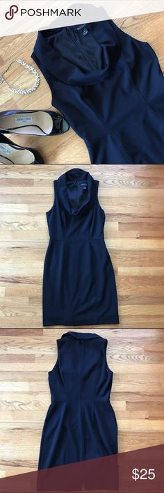 "White House Black Market WHBM LBD Black dress by White House Black Market. Form fitting with cowl neckline.  Fully lined. EUC.   74% polyester, 20% rayon, 6% spandex   Size: 6   Length: 37"" Chest: 18"" Waist: 14"" Hips: 18"" White House Black Market Dresses"