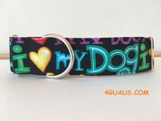 Collar perro I love my Dog, Collar martingale, Collar galgo, Martingale dog collar, Collares para perros, Correa perro, Love Dog, NEGRO de 4GUAUS en Etsy