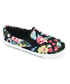 Look at this #zulilyfind! Black & Pink Floral Slip-On Sneaker #zulilyfinds
