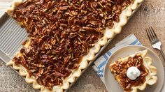 This crowd-friendly slab pie is the easiest, most impressive way we know to feed guests. With gooey caramel and a toasted pecan topping, it's everything you love about traditional pecan pie, but with an added creamy layer of sweetness Easy Desserts, Delicious Desserts, Yummy Food, Delicious Dishes, Holiday Desserts, Pie Recipes, Dessert Recipes, Party Recipes, Sweets