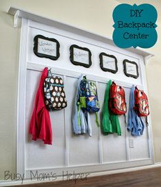 Keep the kids organized with this DIY Backpack Center (Busy Mom's Helper) Two hooks are wise because then you have a spot for bag plus coat.
