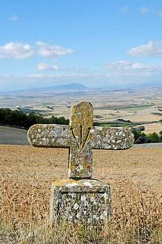 Scallop shell and cross, Camino de Santiago or the Way of St James, Puente la Reina, Pamplona, Navarra, Spain