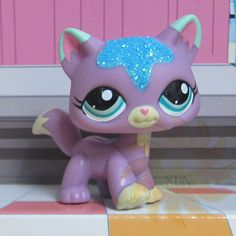 Littlest Pet Shop #933 Purple Striped Kitty Cute Cat Short Hair LPS Glasses Toys