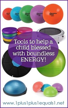 "Blessed with Boundless Energy ~ tools and tips to help an active and energetic child -""Help him channel this energy positively and teach him how to have self control when he needs to put his high activity level away. Autism Sensory, Sensory Activities, Activities For Kids, Sensory Kids, Sensory Tools, Learning Activities, Social Work, Social Skills, Sensory Issues"