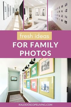 Display family photos in a fresh and stylish way! These 11 ideas are a modern take on the family photo gallery wall. Find these ideas and more at Kaleidoscope Living