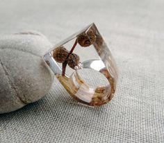 Wood resin ring Acorn jewelry Birch bark Geometric by Eternity31