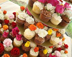 Sometimes less is more - the natural beauty of real roses and honest-to-goodness chocolate and vanilla cupcakes