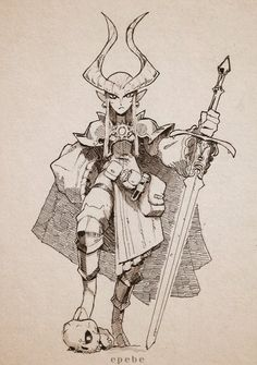 """""""Tiefling paladin (a lost piece from Inktober) Female Character Design, Character Creation, Character Design References, Character Drawing, Character Design Inspiration, Character Concept, Concept Art, Dungeons And Dragons Characters, Dnd Characters"""
