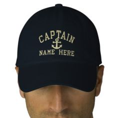 Captain - customizable embroidered baseball caps. Embroidered Captain customizable cap .. ideal for sailors .. personalize this captain and anchor cap with your own custom text for FREE.