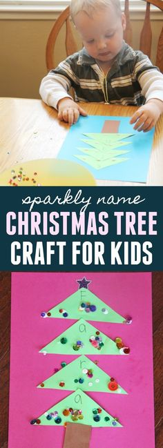 Sparkly Name Christmas Tree Craft for Kids. This is a super easy craft that is part of our 23 Days to Christmas series where we feature an easy activity each day for toddlers and preschoolers!