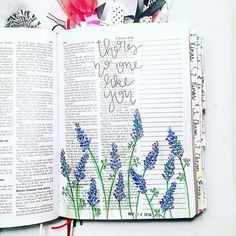 Bible Journaling by Kelsie @kelsienoellee | keep flowers light so don't cover text and move thoughts to column | mostly I like flowers and colors | could even put flowers in column sideways