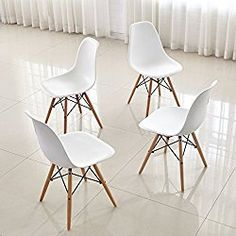 Dining Chairs FurnitureR Set of 4 Dinning Chairs Eames Style Seat Height Chair Natural Wood Legs Eiffel for Dining Room Armless Chairs White
