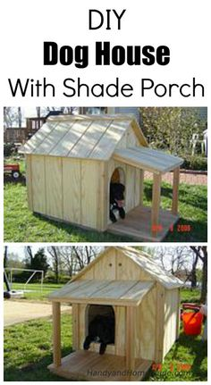 DIY Dog House With Shade Porch Plans