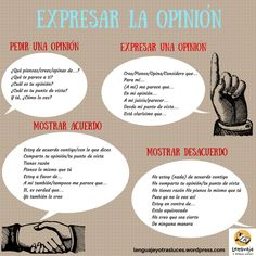 expresar la opinión, acuerdo y desacuerdo.ELE ✿ ✿ Share it with people who are serious about learning Spanish! Spanish Grammar, Spanish Vocabulary, Spanish Language Learning, Spanish Teacher, Spanish Classroom, Basic Grammar, Spanish Alphabet, Spanish Help, Ap Spanish