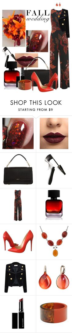 """""""Fall Wedding - This what I would wear"""" by louvillia ❤ liked on Polyvore featuring LASplash, DKNY, Lancôme, Miss Selfridge, The Collection by Phuong Dang, Christian Louboutin, Yves Saint Laurent, Pomellato, Witchery and MANGO"""