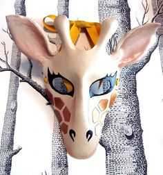 Giraffe Leather Mask Child Size  Made to by SundriesAndPlunder, $63.00