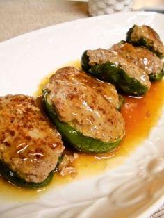 「ふっくら♪和風ピーマンの肉詰め」蒸し焼きにするのでふっくら♪ピーマンと挽肉もしっかりつながってはなれません(*´∀`)簡単ですよ♪【楽天レシピ】
