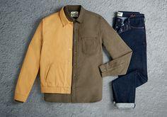 Topman Ltd mustard jacket, khaki shirt and indigo jeans