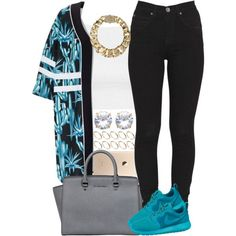 Teal & Black by livelifefreelyy on Polyvore featuring Topshop, Dr. Denim, NIKE, MICHAEL Michael Kors, AllSaints and ASOS