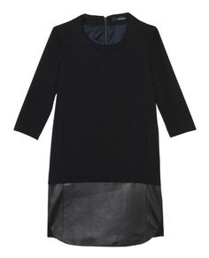 Black dress with leather panel | The Kooples