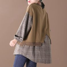 "Item Details:·Retro·O-neck·Plaid·Splicing ·Long SleeveOne Size(Fit for EU cm/ ""Bust: cm/ ""Shoulder: cm/ ""Sleeve Length: cm/ ""Arm: cm/ ""Cuff: cm/ ""Waist: Autumn Fashion Women Fall Outfits, Womens Fashion, Fashion Trends, Bell Sleeve Top, Plaid, Sweatshirts, Long Sleeve, Sleeves, Tops"