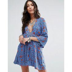 Free People Tallula Printed Mini Dress (104 AUD) ❤ liked on Polyvore featuring dresses, blue, boho maxi dress, short blue dress, bohemian maxi dresses, boho mini dress and boho dresses
